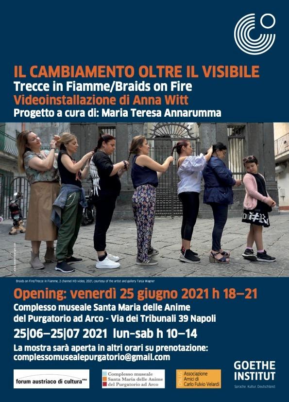 You are currently viewing IL CAMBIAMENTO OLTRE IL VISIBILE – Trecce in Fiamme/Braids on Fire | Videoinstallazione di Anna Witt